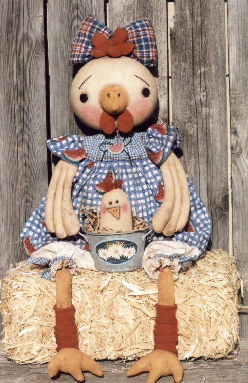 """PATTERN /""""CHELSEA CHICKEN/"""" BY GINNY LETTORALE *NEW* CLOTH FOLK ART DOLL PAPER"""