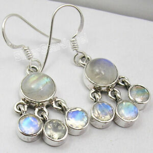 925-Solid-Sterling-Silver-Authentic-Rainbow-Moonstone-Dangle-Earrings-New-Art