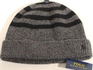 7184d327cf8 POLO RALPH LAUREN Mens Cashmere Blend Wool Knit Beanie Hat Skull Ski ...