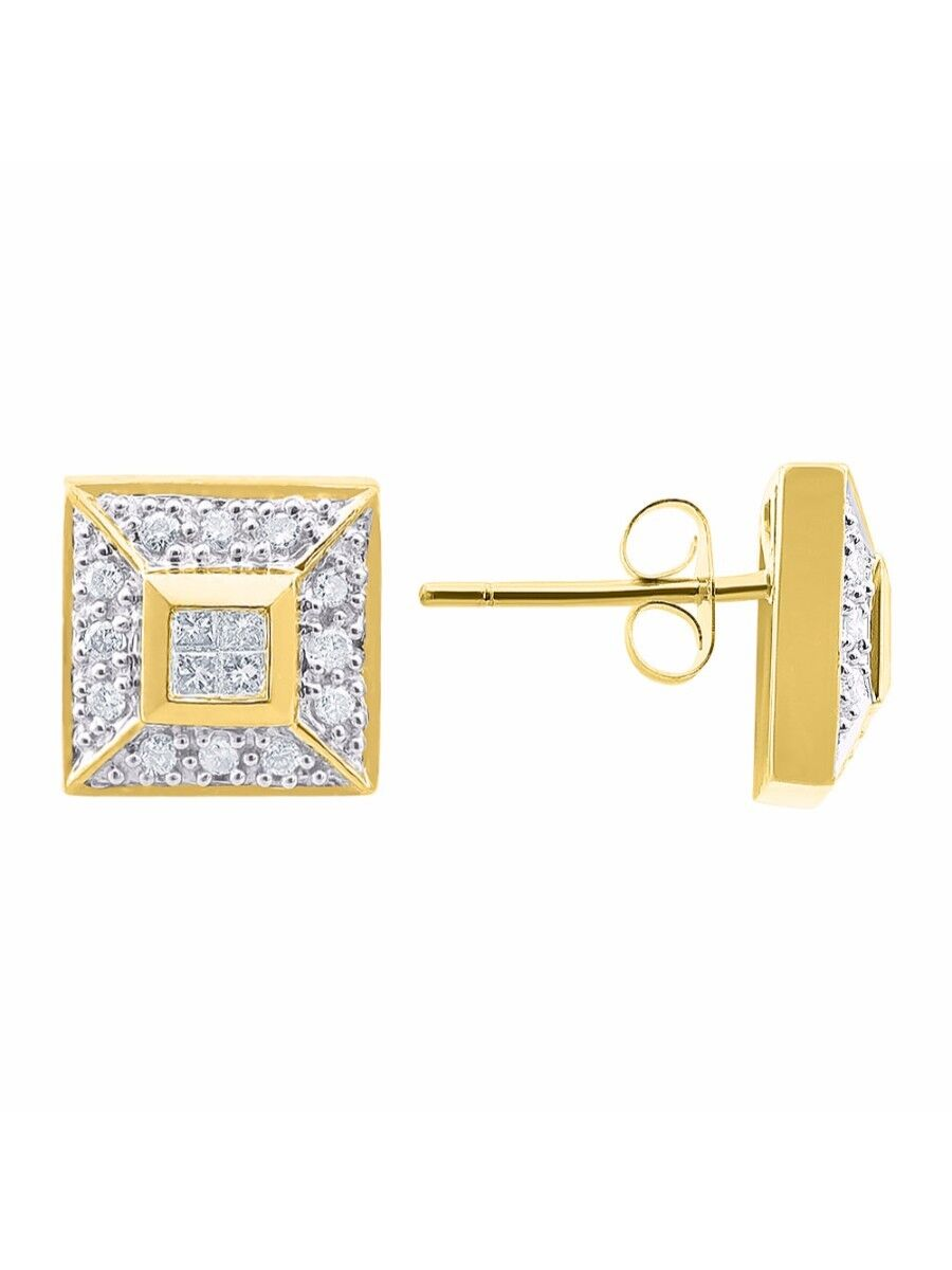 Princess & Round Diamond Stud Earrings Set In 14K Yellow gold 1 2 Carat ER2026Y-