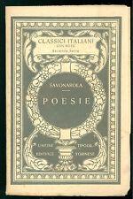 SAVONAROLA GEROLAMO POESIE UTET ANNI '20 CLASSICI ITALIANI 53