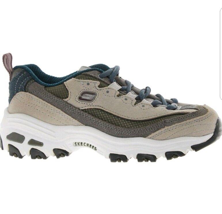New SKECHERS SPORT Grey Beige Leather Trainers UK2 EU35 shoes RP