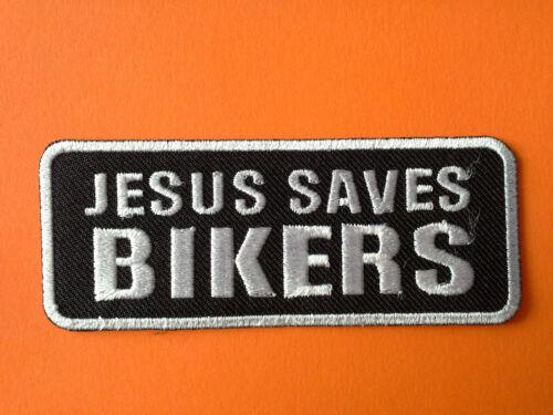JESUS SAVES BIKERS BIKER SLOGAN SEW//IRON ON PATCH: