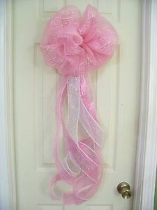 Baby shower girl pink deco mesh bow wreath birth for Baby girl hospital door decoration