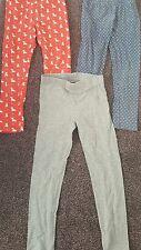 3 x girls leggins TU 7 yrs 122cms red blue grey