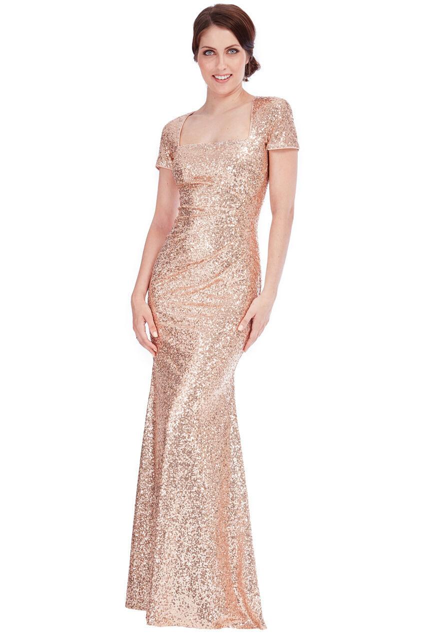 Goddiva Square Neck Champagne Sequin Prom Maxi Wedding Bridesmaid Party Dress