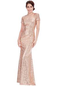 Goddiva-Square-Neck-Champagne-Sequin-Prom-Maxi-Wedding-Bridesmaid-Party-Dress
