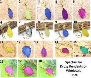 Multi-Color-Natural-Sugar-Druzy-Quartz-Yellow-Gold-Plated-Necklace-Chain-Pendant