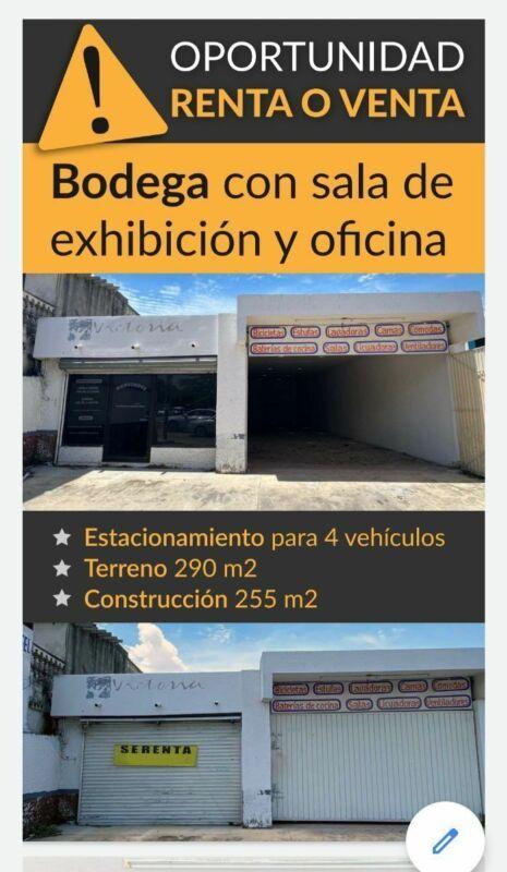 Excelente bodega con sala de exhibicion y oficinas en RENTA Y VENTA