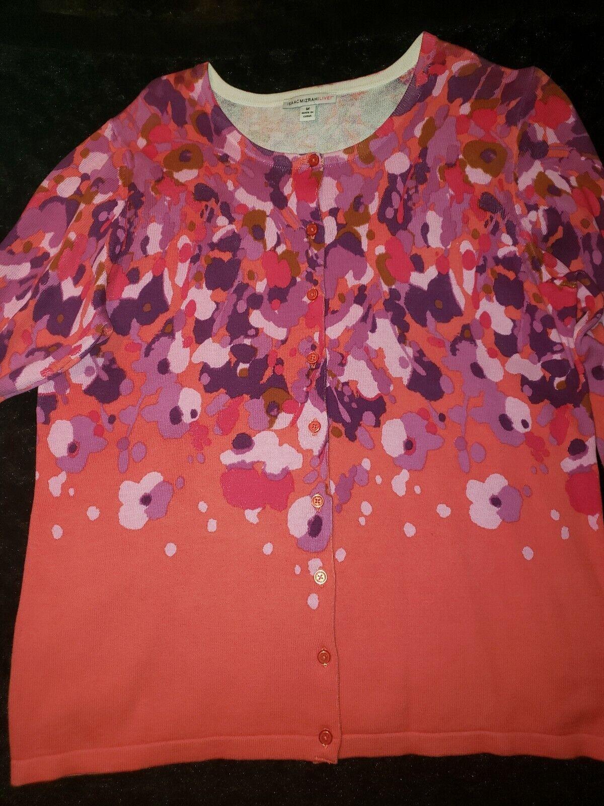 ISAAC MIZRAHI LIVE! Size M V neck Engineered Floral Printed Cardigan coral nwot