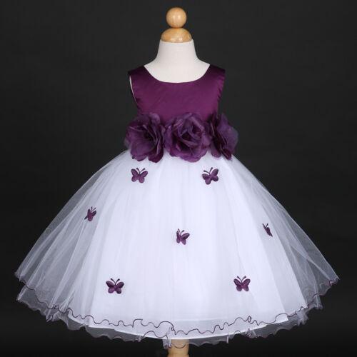 Plum Dark Purple Eggplant Wedding Flower Girl Dress 6M 12M 18M 2 4 5//6 7//8 9//10