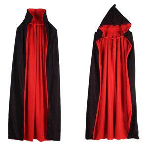 Adult Red Black Cape Hooded Cloak Gothic Wicca Robe Medieval Larp Cloak Unique