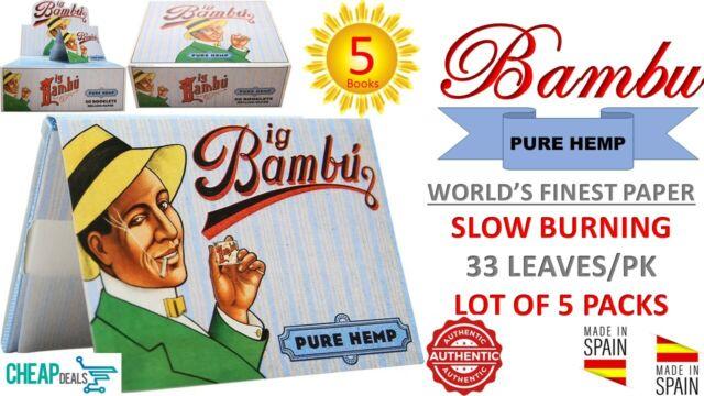 "4 SPAIN Big Bambu 1 1//2/"" PURE HEMP World/'s Finest Rolling Paper 33 Leaves//Book"