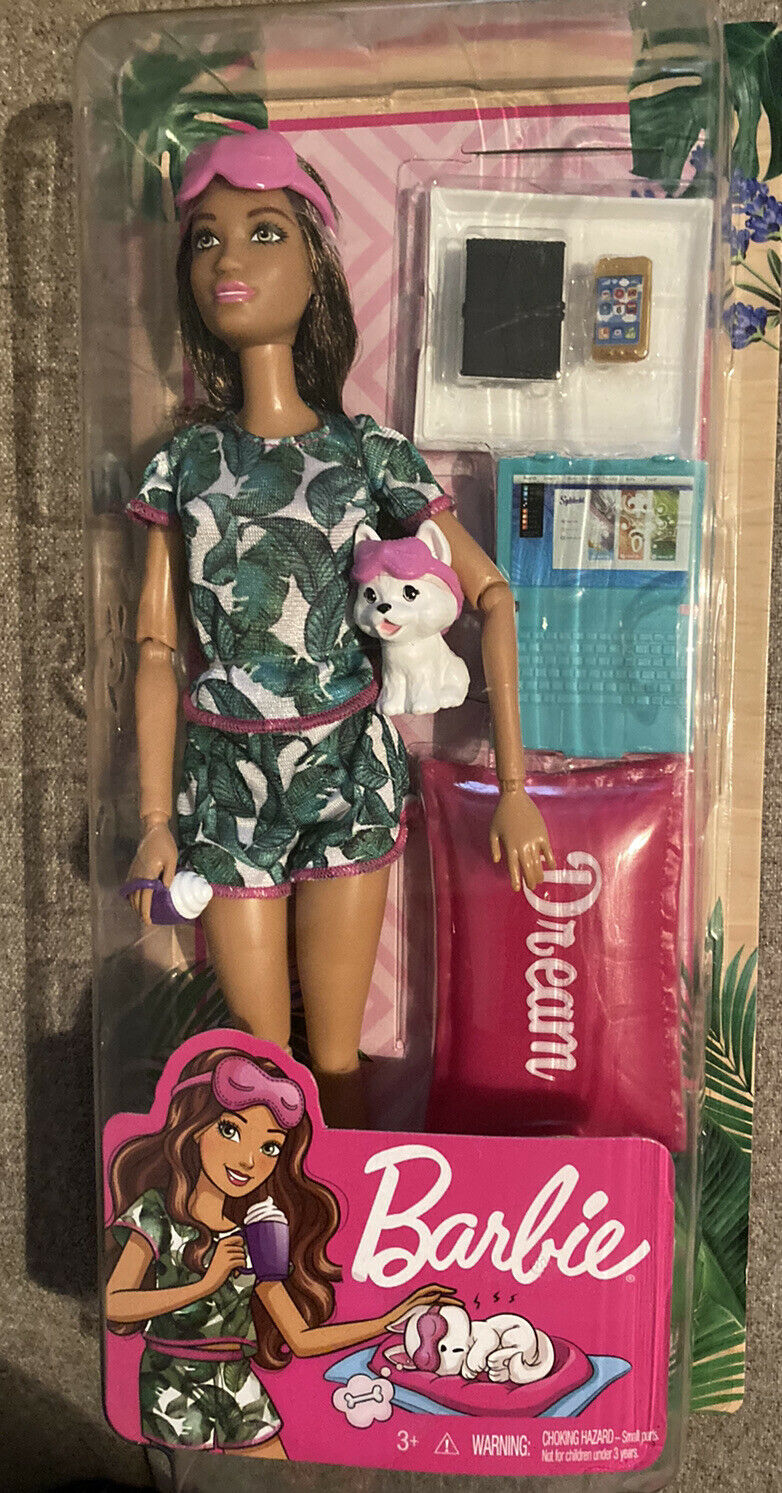 Barbie Relaxation Doll Including Pillow with Puppy and 8 Accessories Brunette