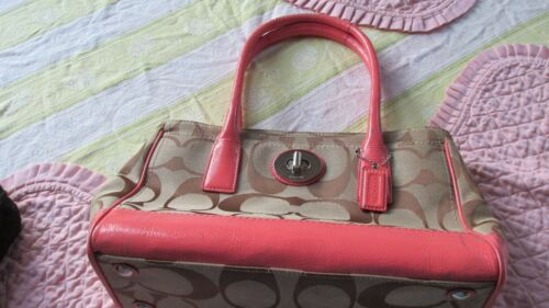 Vintage Coach Leather Signature Pink Bag Purse