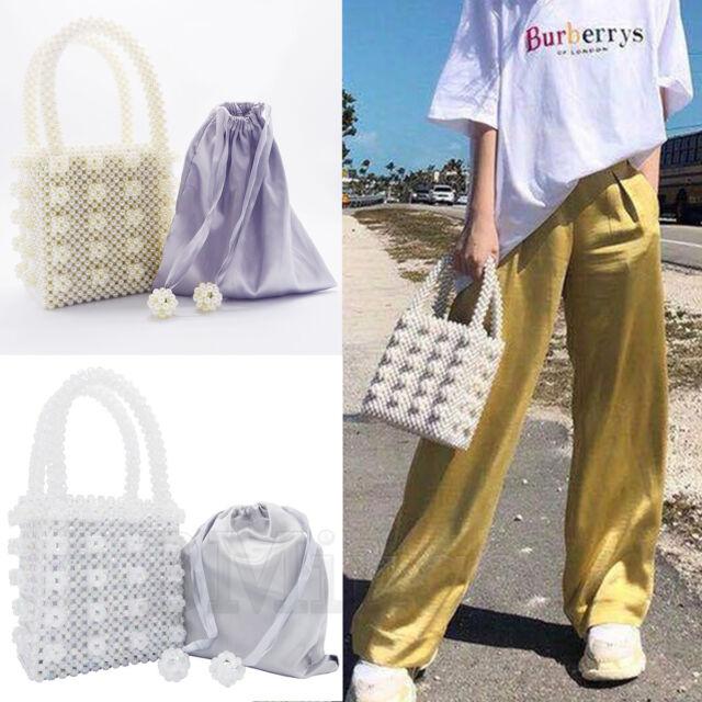 Womens Beaded Handbag Handmade Pearl Bags Weave Crystal Ladies Flowers Box Tote