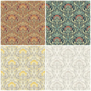 Details About Crown Flora Nouveau William Morris Style Wallpaper Vintage Retro Wall Decor