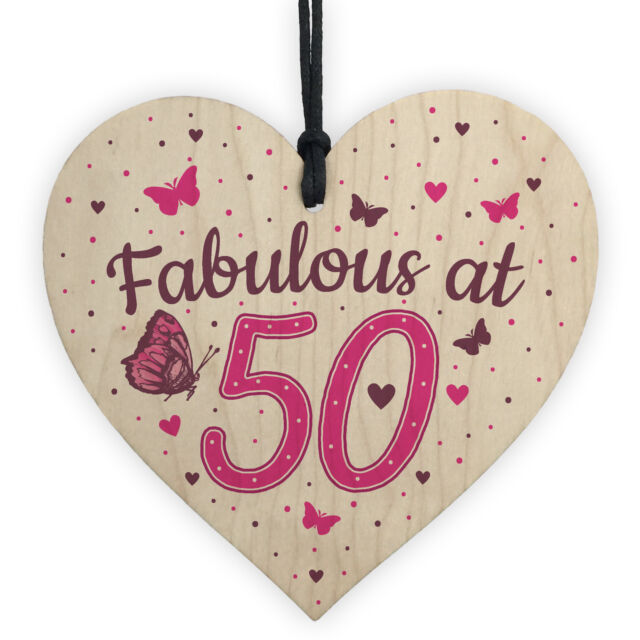 Fabulous At 50 50th 40th 60th Birthday Gifts For Women Men Heart Card Decoration