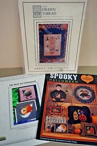 Lot-of-3-Halloween-cross-stitch-charts-sampler-witch-ghosts-Drawn-Thread-amp-more
