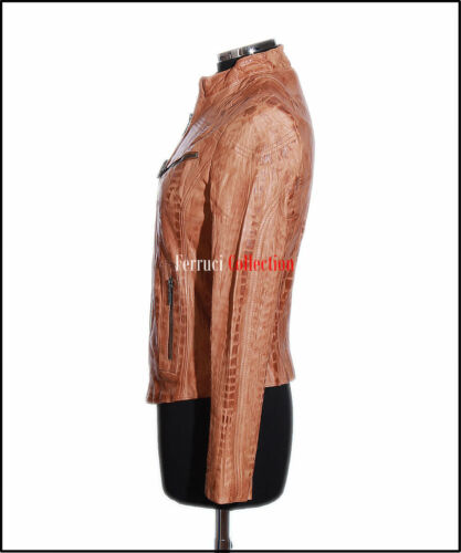 Sienna Jacket Washed Real Style Soft Lambskin Leather Crunch Ladies Tan Biker 1g1rRv