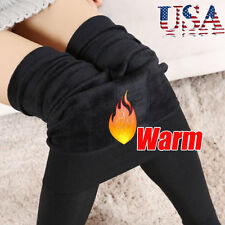 Women Winter Thick Warm Fleece Lined Thermal Stretchy Leggings Pants Black