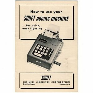 Details about SWIFT ADDING MACHINE INSTRUCTION MANUAL Original Antique Vtg  10 Key Calculator