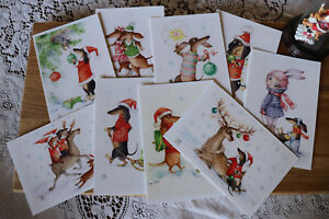 9psc-Dachshund-Christmas-post-cards-Inga-Izmaylova-SmG-Doxie-6-034-by-4-034-Dog-cards