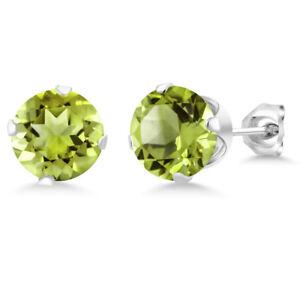 2-00-Ct-Green-Peridot-Gemstone-925-Sterling-Silver-Stud-Earrings-6MM