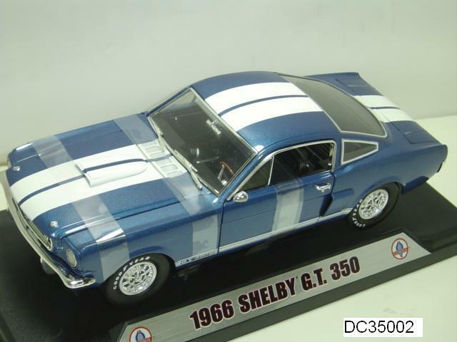 1966 FORD MUSTANG SHELBY GT350 bleu blanc WITH STRIPES 1 18 SHELBY COLLECTIBLES