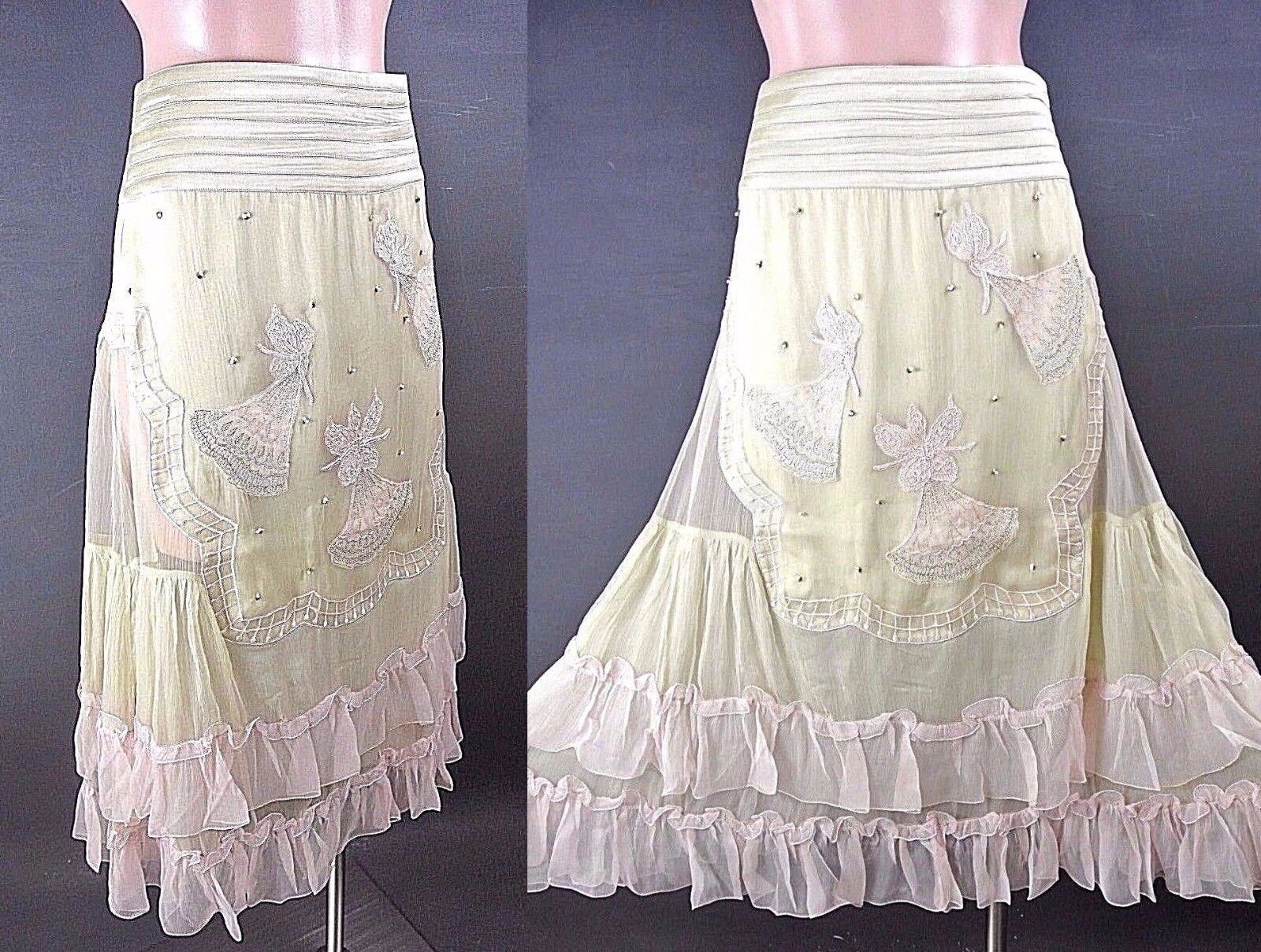Nataya Skirt XS Mint Green Pink Fairy Embroidered Formal Ruffled Vintage  NC006