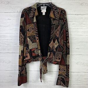 Joseph-Ribkoff-Women-039-s-Cardigan-Size-4-Front-Tie-Aztec-Print-Embellished-Jacket