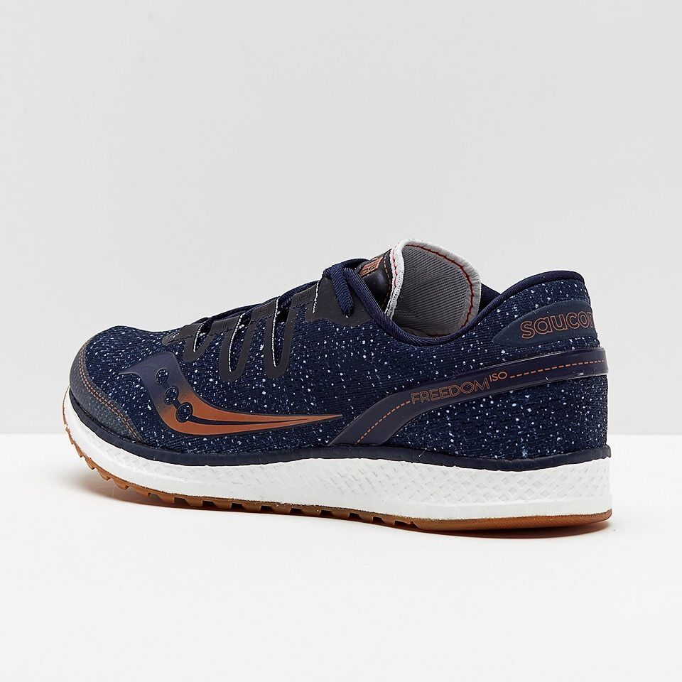 New Mens Saucony Freedom ISO Running shoes Size 9.5 Navy - Denim - Copper