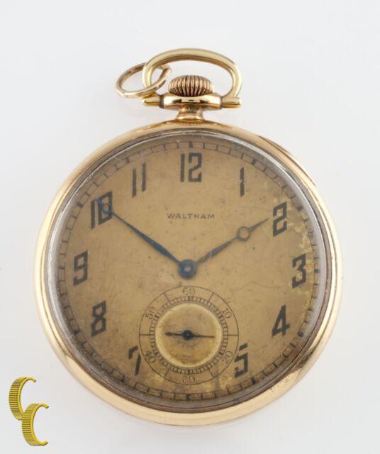 2b482b6f84c53 Waltham Colonial Series Open Face 14k Yellow Gold Pocket Watch 14s 19 JEWEL