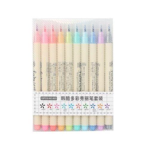 10 Colors Brush Pen Set Fabricolor Marker Pen Soft Tip Calligraphy Colour Pen
