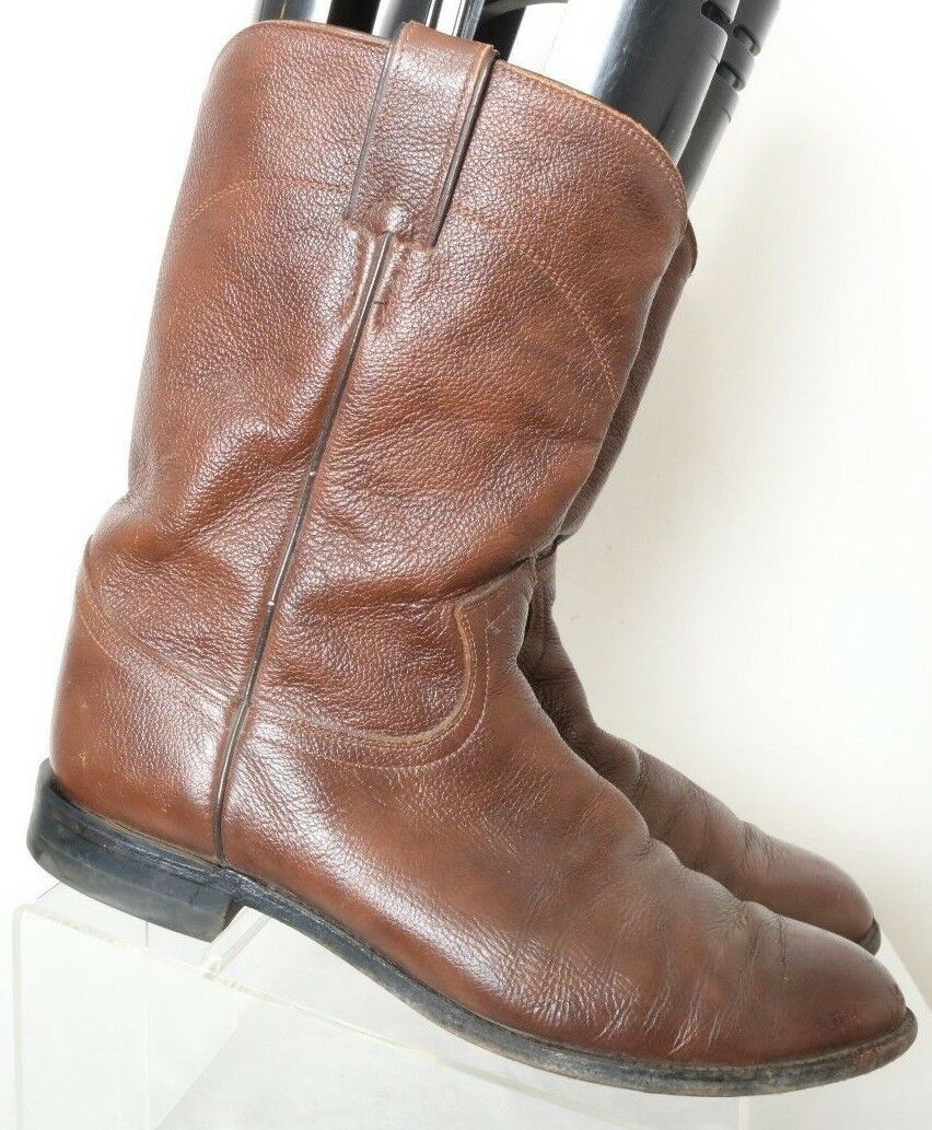Justin 3714 brown semplice la pebbled western cowboy roper roper cowboy stivali uomini '91) 0a8472