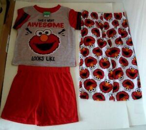 521c25cb5 Details about Sesame Street Elmo Awesome Shirt Shorts and Pants 3 Piece Pc Pajamas  Set NWT