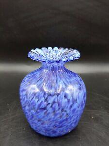 """Art Glass Vase Hand-Blown Blue-Multi-Color 4"""""""