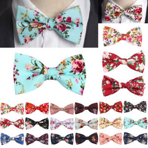 Men-Butterfly-Floral-Cotton-Bow-Tie-Colorful-Wedding-Party-Neckties-Fashion-New