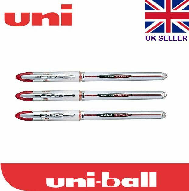 3 x Uni-ball Vision Elite UB-200 0.8mm Tip Rollerball Red Pen