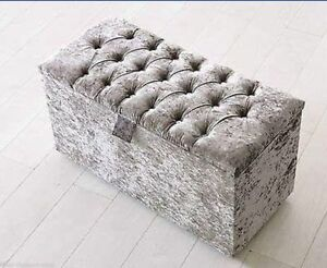 Large 40 Quot Crushed Velvet Diamante Ottoman Toy Storage