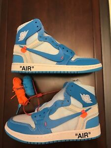 f6557dcd6a4 Details about Men's NEW Nike OFF-WHITE x Air Jordan 1 Retro High OG 'UNC'  AQ0818-148 Size 11