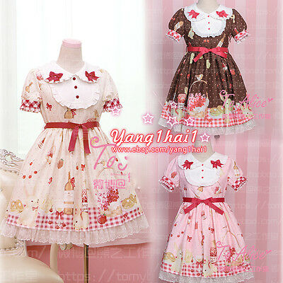 Japanese Vintage Princess Style Sweet Lolita Strawberry Print Bow Falbala Dress