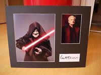 Signed & Mounted Ian McDiarmid Star Wars card & photo display - C.O.A.