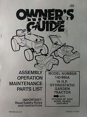 MTD 140 990A Farm King 16hp Hydrostatic Lawn Garden Tractor Owner Parts Manual EBay