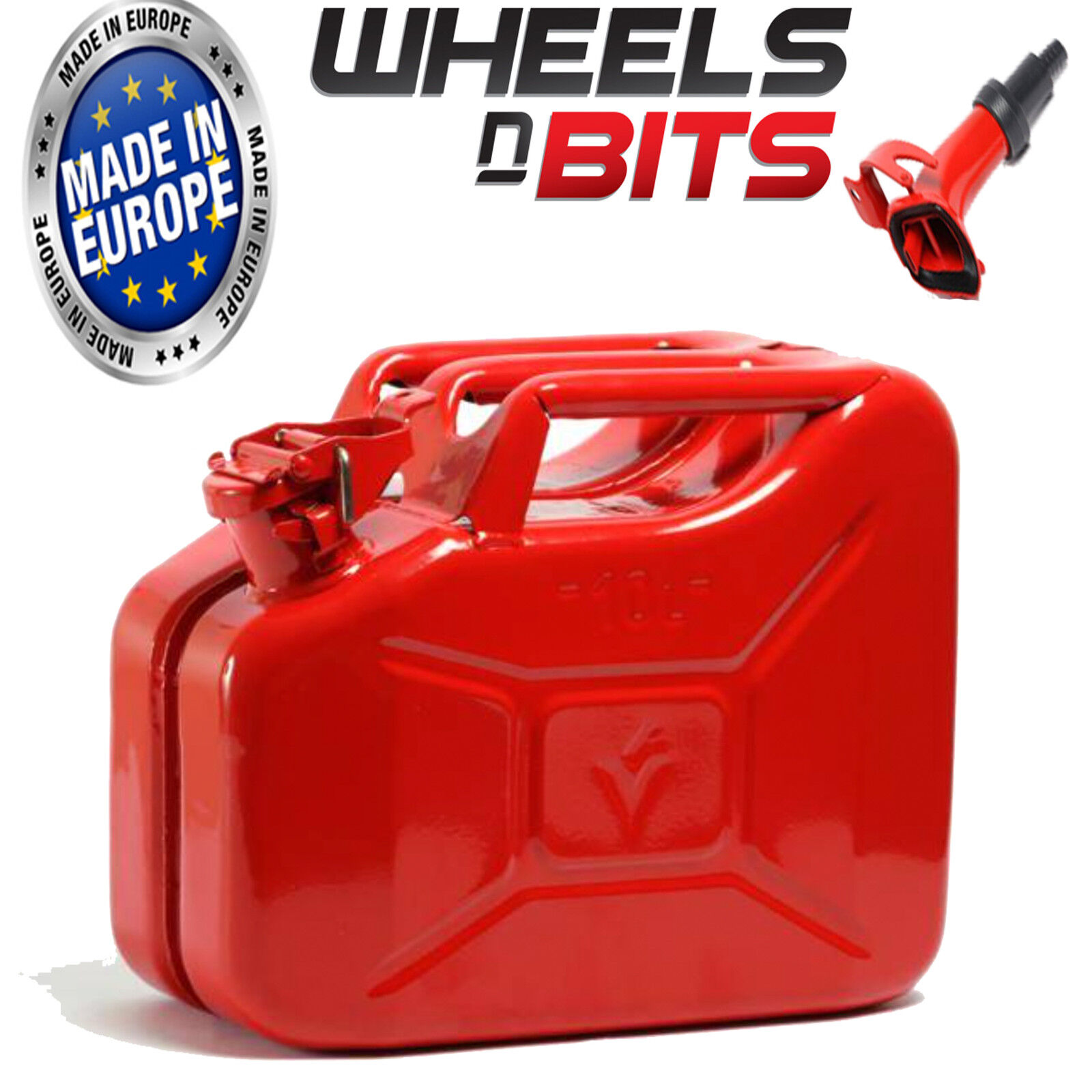 10L Litre RED JERRY MILITARY CAN FUEL PETROL DIESEL red blueE GREEN WITH SPOUT