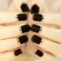 Matte Metallic Black Short Silver Press On 24 Nail Tips Fast Ship