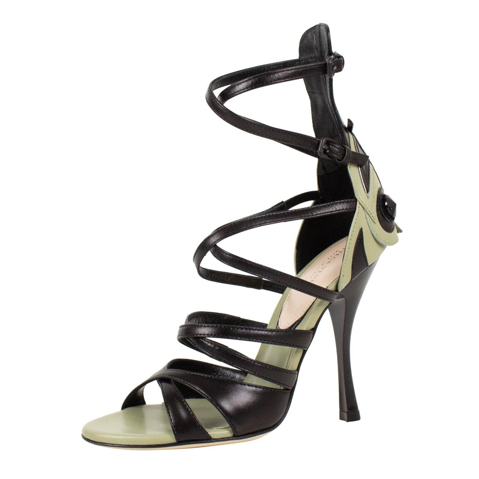 a prezzi accessibili NIB BOTTEGA VENETA nero And verde Leather Open Toe Toe Toe Heels scarpe 5.5 35.5  850  100% autentico