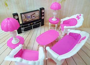 kunststoff sofa teetisch lampen tv spielzeug m bel f r barbie ken puppenhaus pd ebay. Black Bedroom Furniture Sets. Home Design Ideas