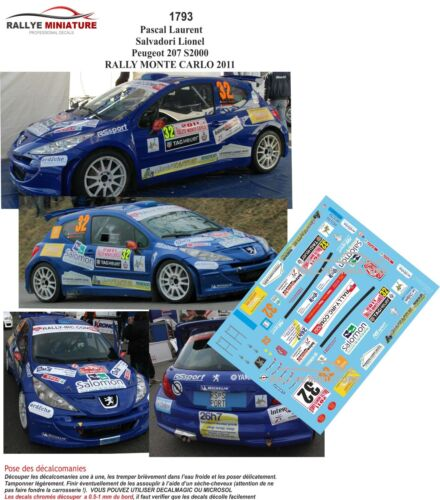 Decals 1//43 ref 1793 peugeot 207 s2000 pascal rallye monte carlo 2011 IRC rally