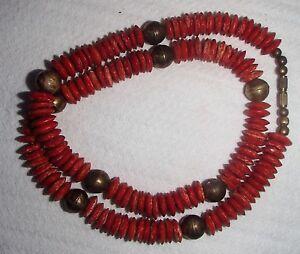 Antique-57-grams-Samon-Coral-Beads-Natural-Undyed-Ukrainian-Necklace-24-034-Long